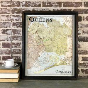 vintage Queens map