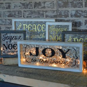 wood and glass holiday signs