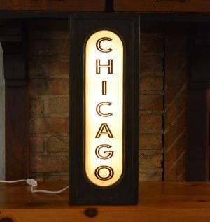 Chicago Lighted Sign vertical