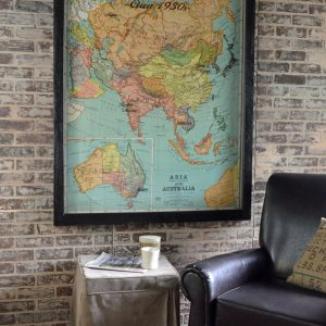 Vintage Asia map wall art - 1930s Asia and Australia map window art