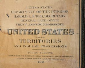 Vintage USA map art - three piece 1938 USA Dept of Interior map set