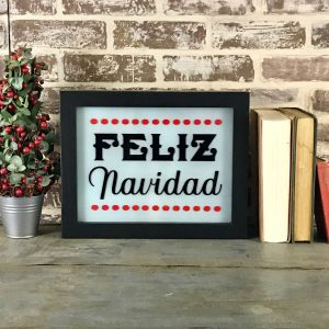 holiday lighted sign - Feliz Navidad unlit
