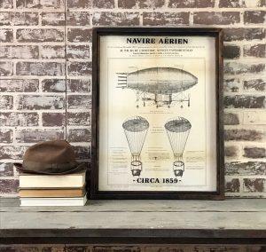 French Airship drawing