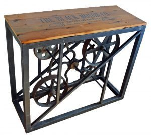 metal gear table with wood top