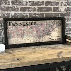 Framed vintage state map