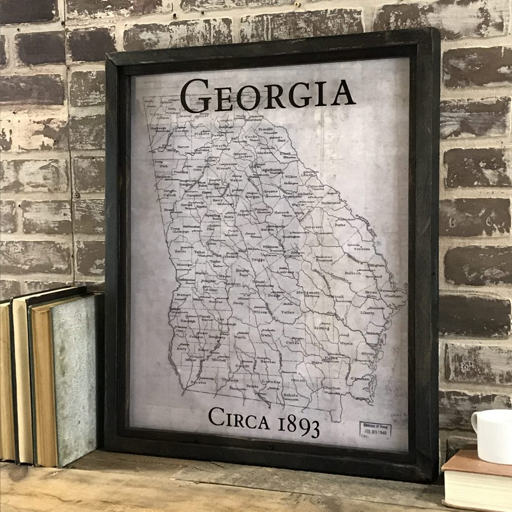 Framed vintage state map barn wood frames
