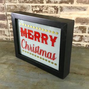 holiday lighted sign unlit side angle