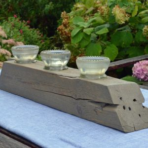 old barn beam candle holder - gray wash, 3 candle