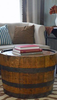 wine barrel table - whiskey barrel coffee table