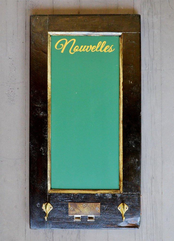 Antigue Door Chalkboard : Vertical chalkboard with hooks vintage door chalkboards