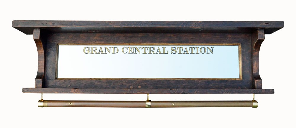 Grand Central Station coat rack with rail - salvaged wood mirror ...
