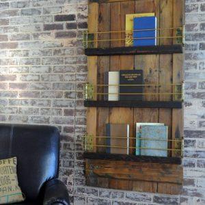 unique barn door wall mounted bookshelf