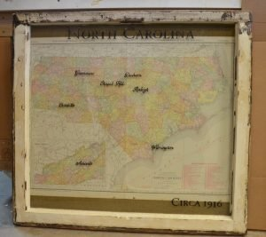 Sample vintage map window art - North Carolina with painted frame