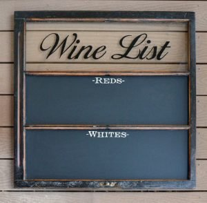 Wine List Chalkboard Window Art with magnetic chalkboard