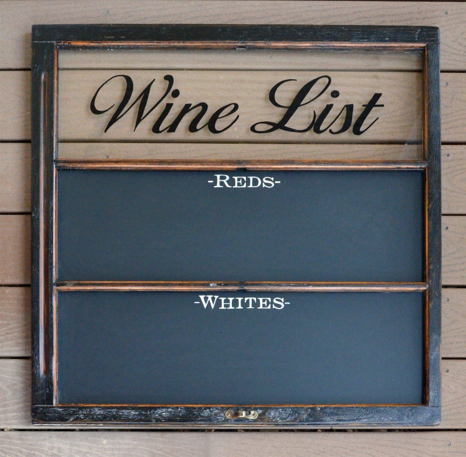 Wine list chalkboard window art with magetic chalkboard for Wine chalkboard art