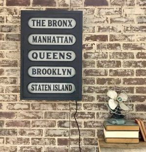 New York Boroughs Lighted Sign