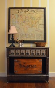 Post office themed storage dresser