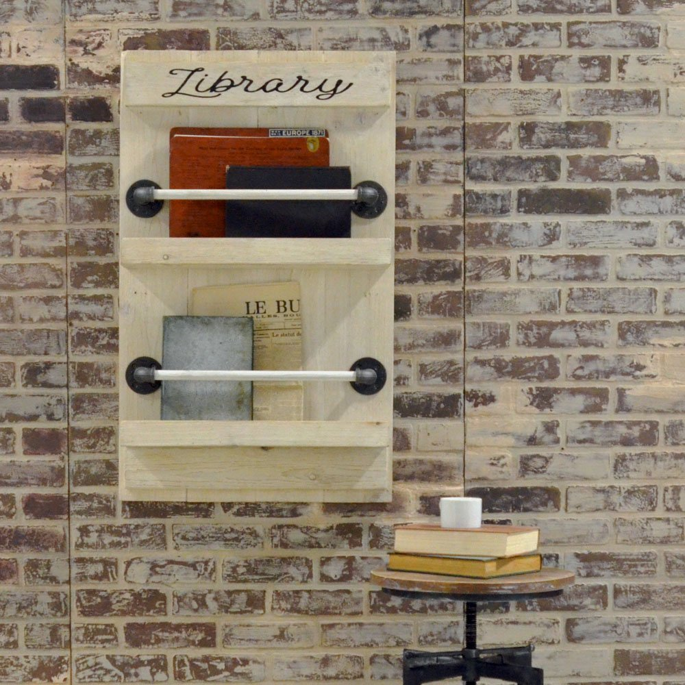 Wall Mounted Magazine Rack Made From