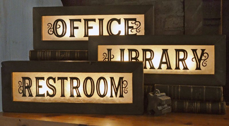 Genial Vintage Style Lighted Office Signs U2013 Wood And Glass Back Lit Sign U2013 Home  And Office Decor