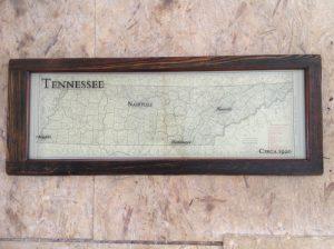 Sample vintage map window art - Tennessee