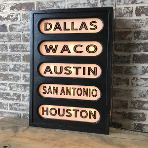Texas Cities Lighted Sign