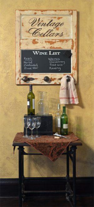 Vintage Door Chalkboard with 3 knobs, vintage cellars option