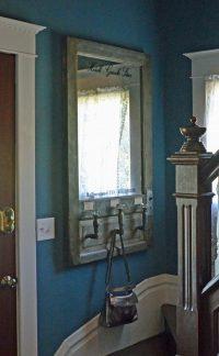 Wall mounted mirror coat rack