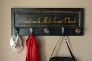 Best golf gifts - vintage door coat rack with reclaimed golf club heads