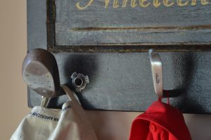Best golf gifts - vintage door coat rack with reclaimed golf club heads