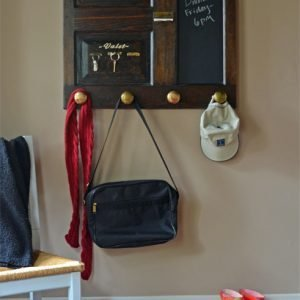 coat and key rack with chalkboard