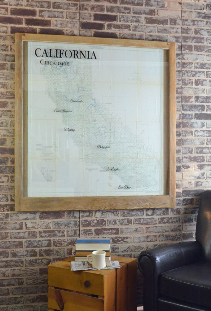 Large Vintage California Map Vintage Map Window Art