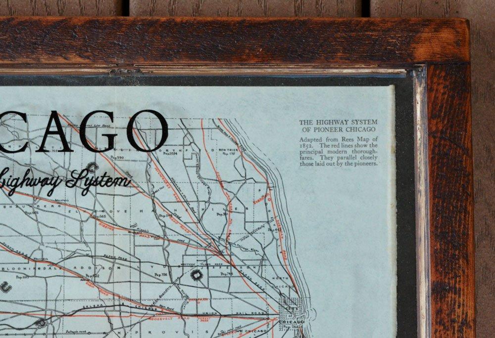 Antique chicago road map