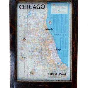 framed vintage Chicago road map