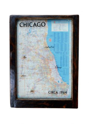 framed vintage Chicago road map