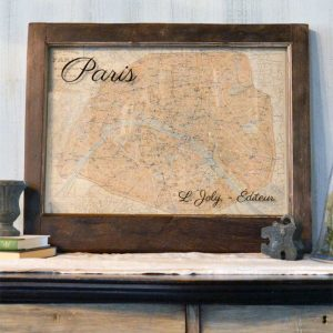 Vintage Paris map wall art
