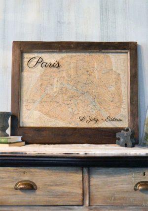 Vintage Paris map wall art
