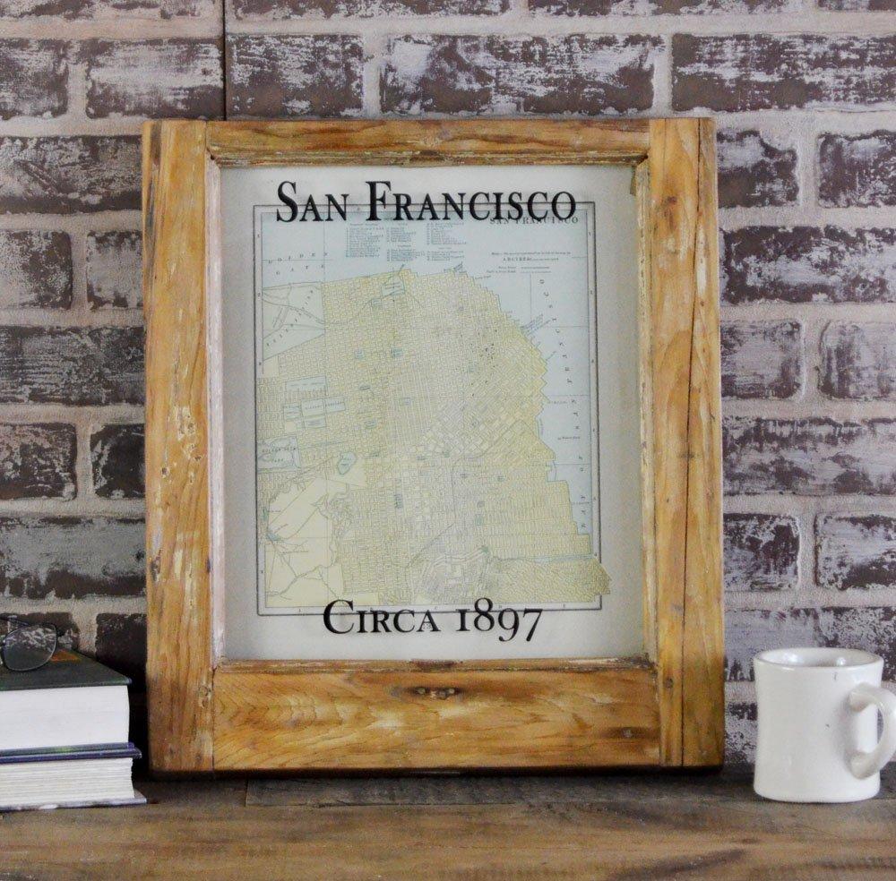 Framed Antique San Francisco Map