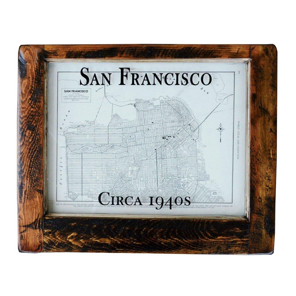 Framed antique San Francisco map unique San Francisco wall art