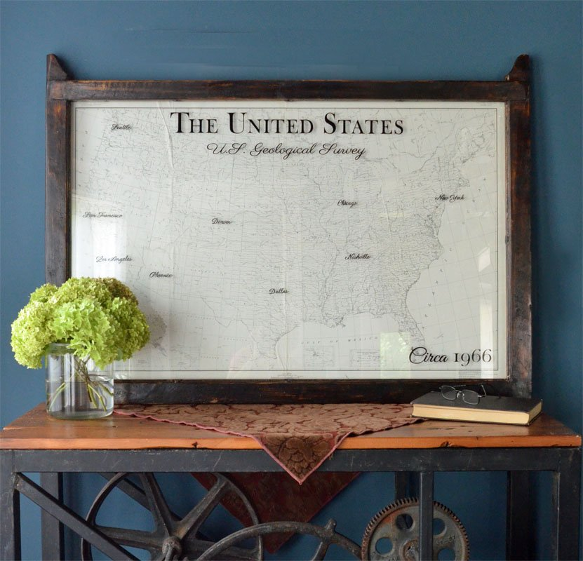 Framed Vintage USA Map Framed Sepia Tone USA Map Wall Art - Framed us map