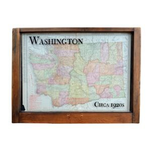 Framed antique Washington state map