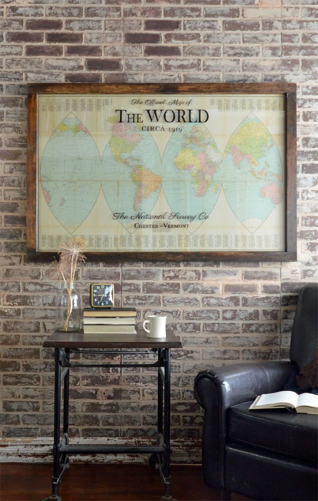 Antique orange peel world map