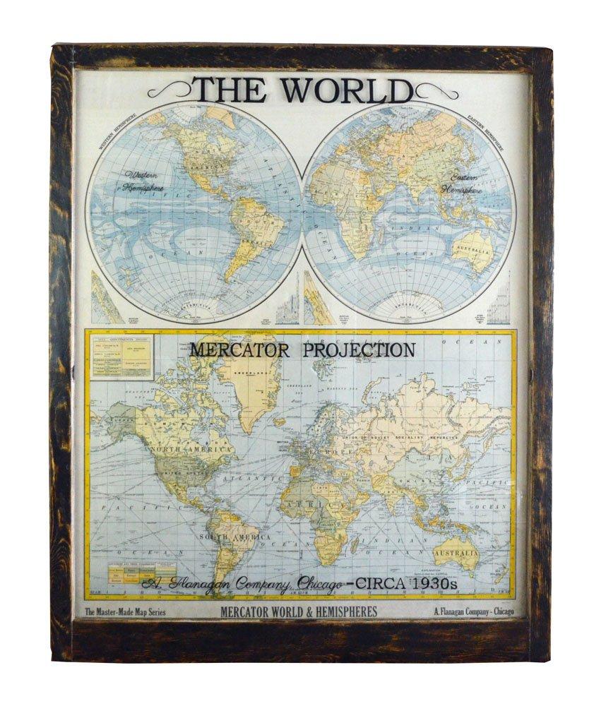 Large Antique World Map Wall Artwork Office Decor Antique Map Art - Antique maps for sale australia