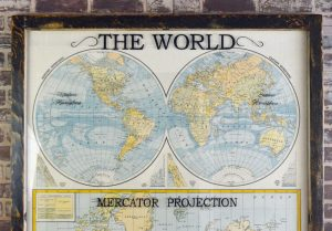 Large antique world map wall artwork