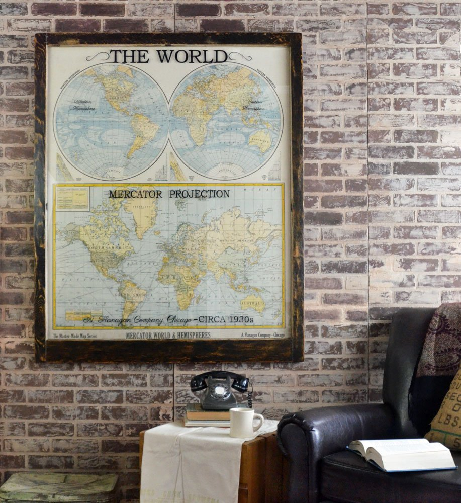 Large Antique World Map Wall Artwork Office Decor Antique Map Art