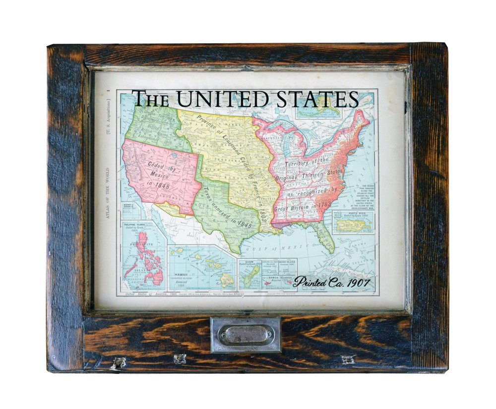 Small Vintage USA Map Unique Salvage Artwork Vintage Home - Usa map vintage