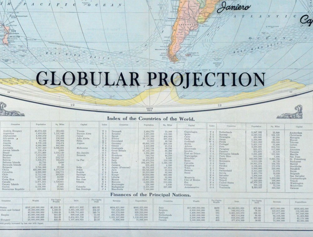 large antique world map art