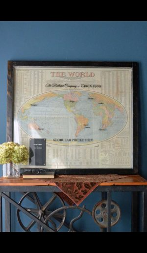 Large Antique World Map Art
