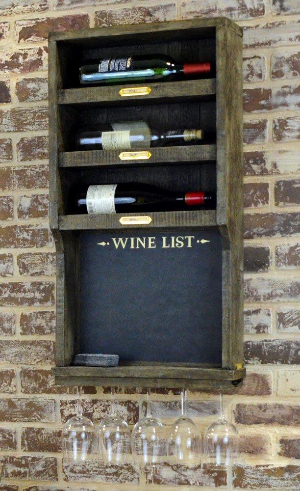 Wall Mounted Wine Rack Chalkboard Unique Salvage Artwork
